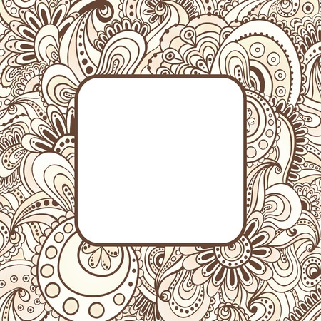 Abstract vector ethnic patterns border. Vector floral decorative background. Template frame design for card with place for your text. Vector