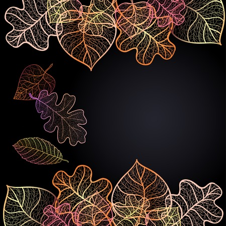 Ornamental background with art autumn leaves on the dark purple background with place for your text. Illustration
