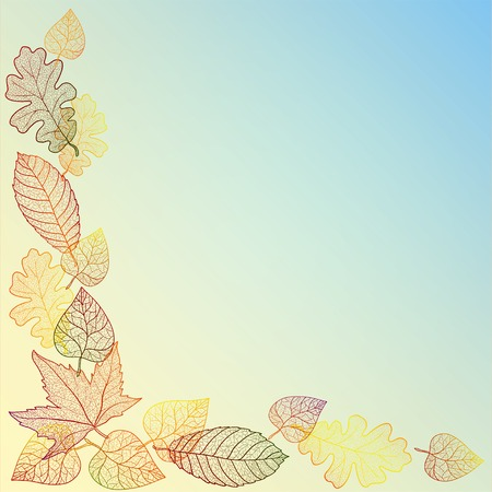 Ornamental background with art autumn leaves. Illustration
