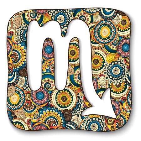 escorpio: Signo del zodiaco - Escorpio. Ilustración del vector. Fondo con las flores abstractas y pepinos. Estilo a mano Doodle