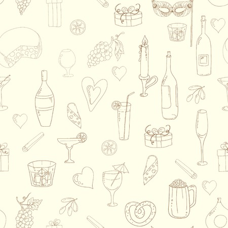 Wine and coctail seamless background. Holiday pattern with love hearts, wine, grapes, chees, bear and gifts. Colored version. Illustration