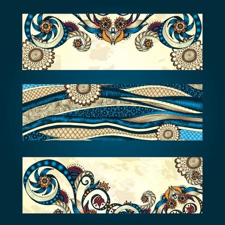 batik: Résumé main de vecteur dessinée ensemble ethnique de carte de modèle Illustration