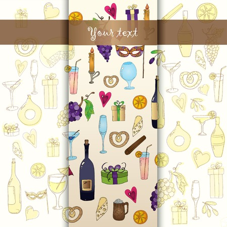 Wine and coctail seamless background. Holiday pattern with love hearts, wine, grapes, chees, bear and gifts. Colored version. Vector