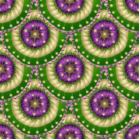 """batik: Seamless géométriques dans la conception de """"écailles de poisson"""". éléments du Cercle texture. Vecteur art."""