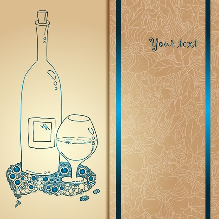 wine card: Template card with glass and bubbles, vector illustration. Hand drawn pattern.
