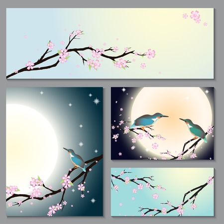 Invitation, thank you card, save the date cards with stylized cherry blossom, moon and bird. Brochure template card with your text for background, backdrop, gift, invitation, banner, design element. Vector