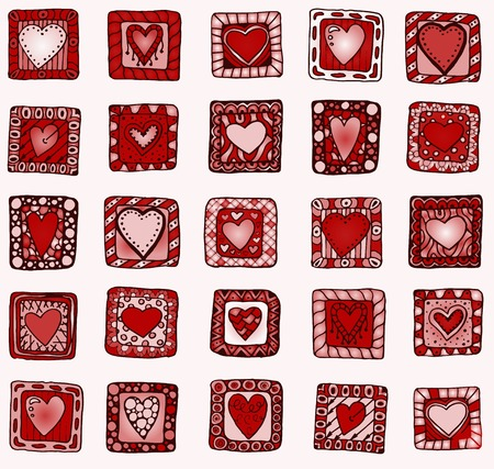 Collection of original drawing doodle hearts. Template frame design for love card with set of doodle hearts.