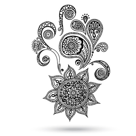 mhendi: Henna Flowers and Paisley Mehndi Tattoo Doodles. Abstract Floral Vector Illustration Design Elements