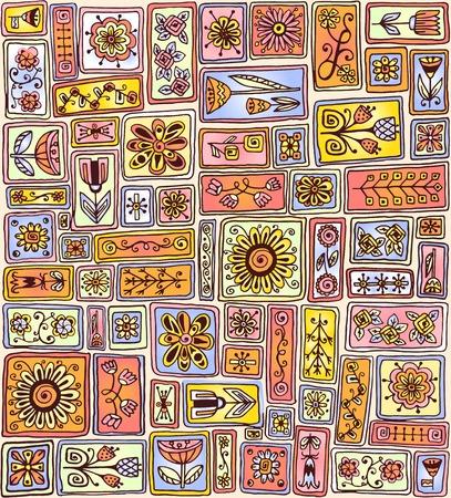 sampler: Seamless pattern. Sampler doodle flowers, leaves, hearts. Geometric pattern. Template frame design for card with set of doodle rectangles.