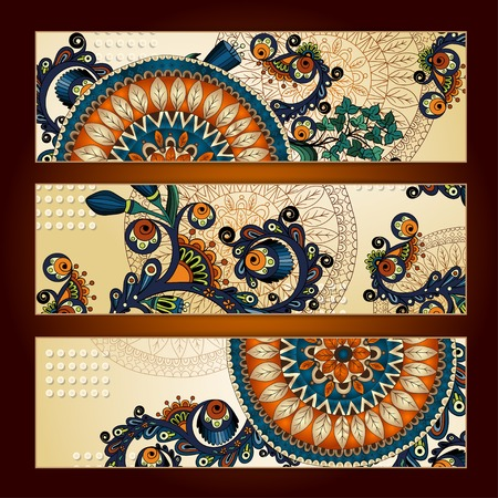 Abstract  hand drawn ethnic pattern card set Illustration
