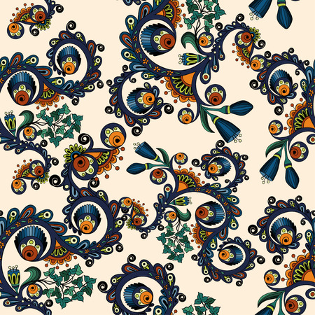 Ornamental colored seamless floral pattern with flowers, doodles and cucumbers