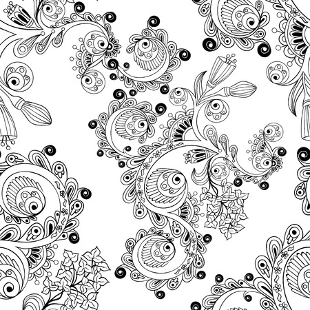 Ornamental colored seamless floral pattern with flowers, doodles and cucumbers Vector