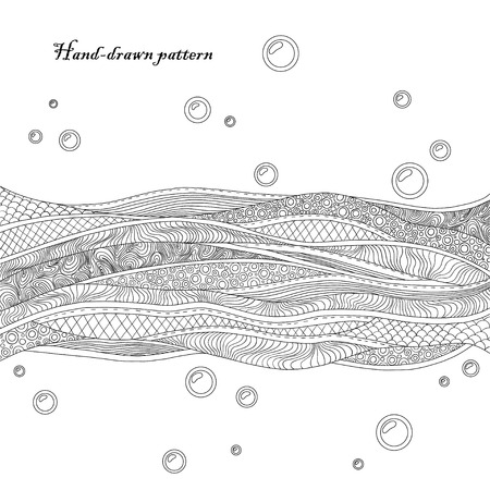 Black and white decorative waves background. Beautiful hand-drawn card Vector
