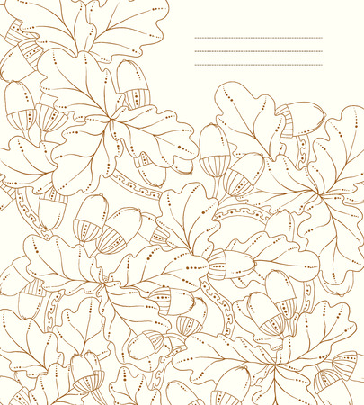 Vector floral card, hand drawn retro oak leaves and acorns. Graphic background. Stock Vector - 25747290