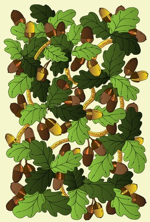 Vector floral card, hand drawn retro oak leaves and acorns. Graphic background. Stock Vector - 25747301