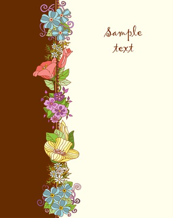Vector floral background. Invitation with hand drawn graphic flowers and leaves Vector