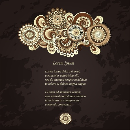 Vector abstract floral decorative background. Template frame design for card with place for your text. Vector