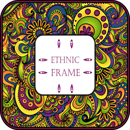 african fabric: Doodle floral decorative background. Template frame design for card with place for your text.