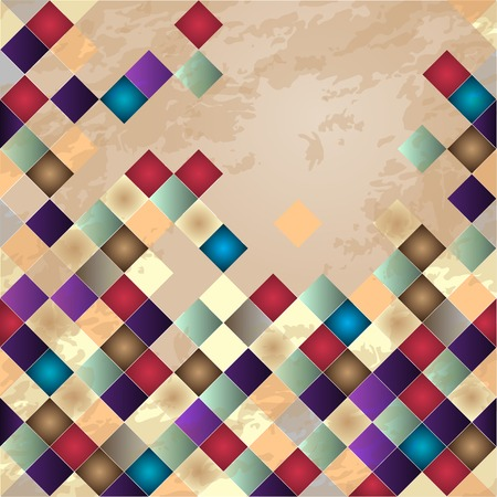 Retro vector background. Colorful mosaic banner. Repeating geometric tiles with colored  rhombus. Vector