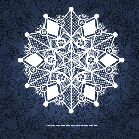 arabic frame: Ornamental winter hand-drawn lace snowflake. Doodle background.
