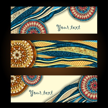 african business: Abstract vector hand drawn ethnic pattern card set Illustration