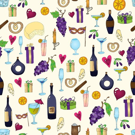 Wine and coctail seamless background. Holiday pattern with love hearts, wine, grapes, chees, bear and gifts.