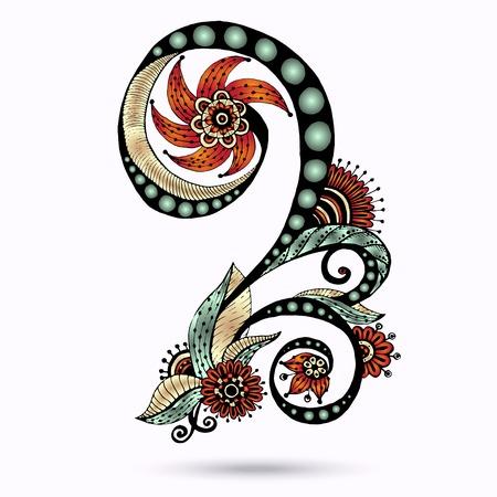 Henna Paisley Mehndi Doodles Abstract Floral Vector Illustration Design Element. Colored Version. Illustration