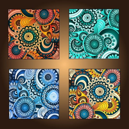 Set of four decorative ornamental ethnic cards in vector Vector