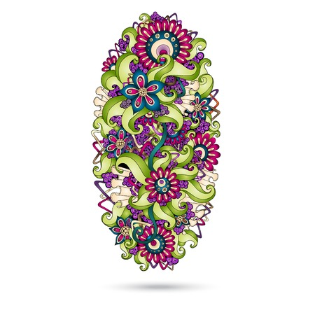 Henna Paisley Mehndi Doodles Abstract Floral Vector Illustration Design Element. Colored Version. Vector
