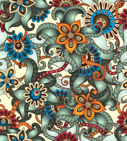 Sier gekleurde naadloze bloemmotief met bloemen, krabbels en komkommers