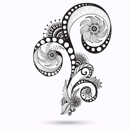 mehndi: Henna Paisley Mehndi Doodles Abstract Floral Vector Illustration Design Element. Black And White Version.