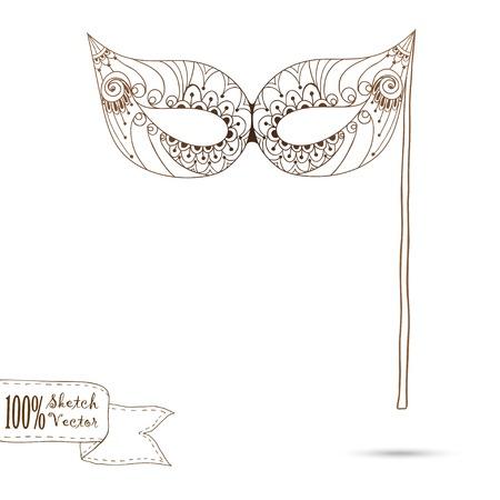 masquerade masks: Sketch illustration of carnival mask Illustration