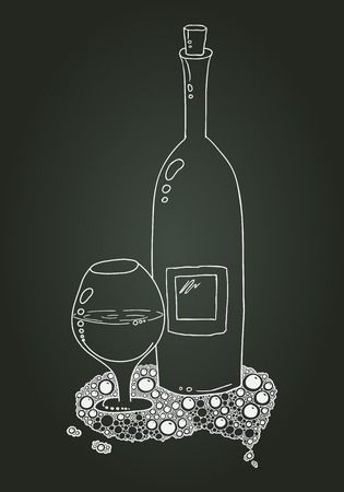 Wine Bottle And Glass With The Doodle Circular Pattern. Vector