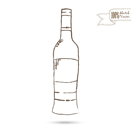Wine Bottle Isolated On The White Background. Hand drawn sketch Vector