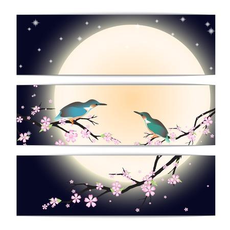 caes: Invitación, tarjeta de agradecimiento, las tarjetas de fecha con los cerezos en flor estilizada, la luna y las aves. Folleto tarjeta de plantilla con el texto para el fondo, telón de fondo, regalo, invitación, bandera, elemento de diseño. Vectores