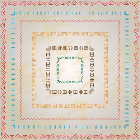 Original drawing tribal doddle rectangle. Template frame design for love card with doodle geometric elements. Vector