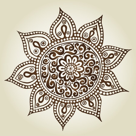 Mandala. Round Ornament Pattern. Ornamental Flowers. Vector set with abstract floral elements in indian style Illustration