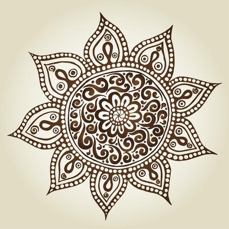 hindi: Mandala. Turno di ornamento. Fiori ornamentali. Vector set con elementi floreali astratti in stile indiano Vettoriali