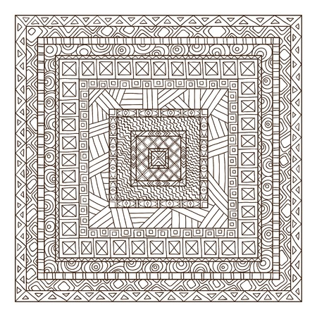 tiles texture: Original drawing tribal doddle rectangle. Template frame design for love card with doodle geometric elements.