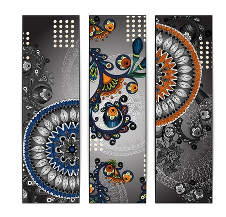 batik pattern: Abstract  hand drawn ethnic pattern card set Illustration