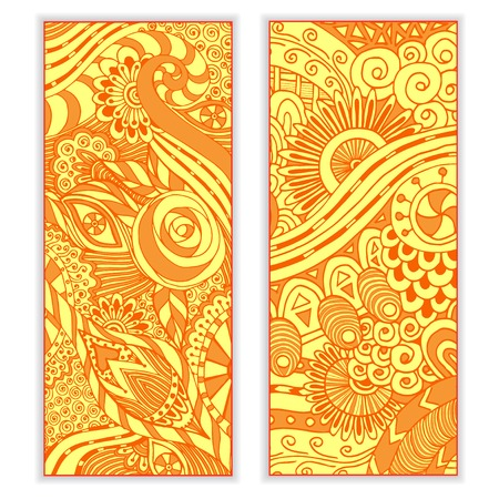 Abstract vector hand drawn ethnic pattern card set. Series of image Template frame design for card. Vector