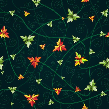 Seamless pattern with clover leaves for st.Patricks Day. Dark background. Vector