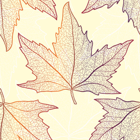 sycamore leaf: Colored art vector autumn maple leaves seamless pattern.  Fabric texture. Illustration