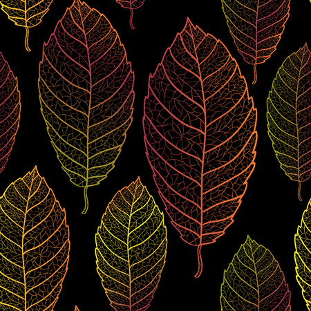 muted: Autumn transparent leaves seamless pattern. Dark background.Colored art vector autumn leaves pattern.  Fabric texture. Illustration