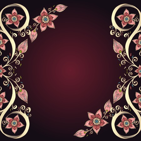Decorative floral background with flowers. Retro flowers vector illustration. Vector