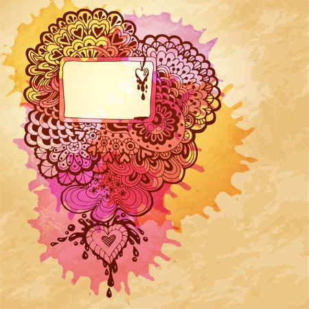 Vector watercolor abstract design with doodle heart Vector
