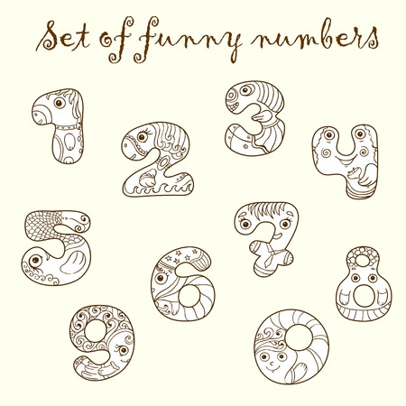 four texture: Set of funny figures  numbers