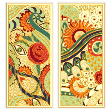 抽象的なベクトル手描き、民族パターン カード セットです。イメージ カード用テンプレート フレーム デザインのシリーズ。  イラスト・ベクター素材