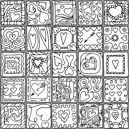 Template frame design for love card with set of doodle hearts. Vector