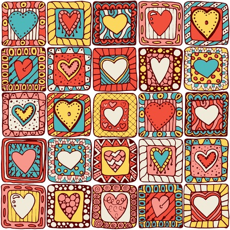 Series of template design for love card with set of doodle hearts. Vector
